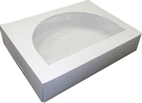 Dixie White 1/2 Sheet Plain Windowed Cake Box -