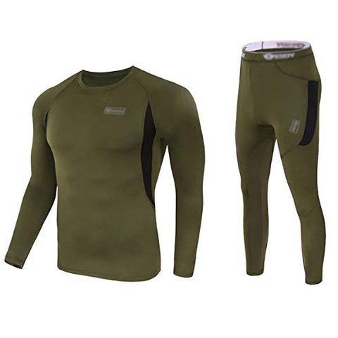 Convallaria Men'S Thermal Underwear Sets Ultra Soft Wicking Crew Neck Long Johns Fleece Lined Sweat Bottom And Top Quick Drying For Outdoor Camping Sports Warm Underwear Army Green, Xl