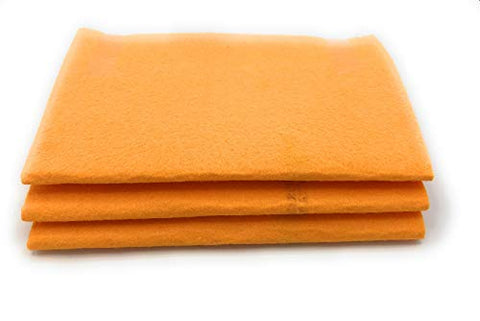 Original 20X27 Inch Orange Super Absorbent German Shammy Cloths For All Kinds Of Cleaning,260 Grams, 100% Viscose,Commercial Grade. (3)