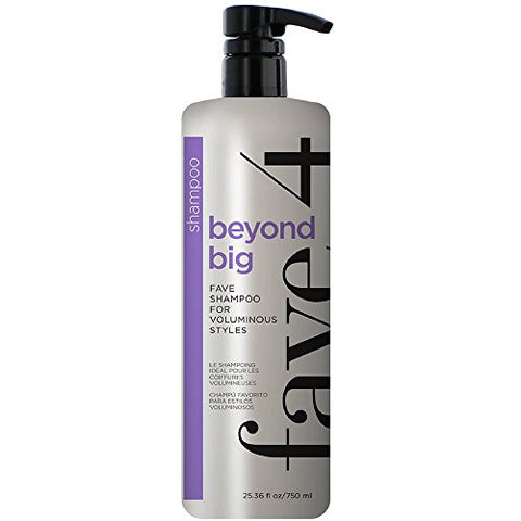 Fave4 Beyond Big Fave Shampoo Fanatic Size For Volume And Voluminous Styles - Sulfate Free | Paraben Free | Gluten Free | No Added Sodium Chloride | Cruelty Free | Safe For Color Treated Hair, 25.36