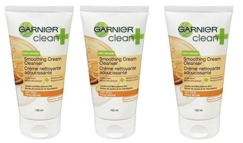 Garnier Clean+ Smoothing Cream Cleanser For Dry Skin , 5 Fluid Ounces (5 Oz