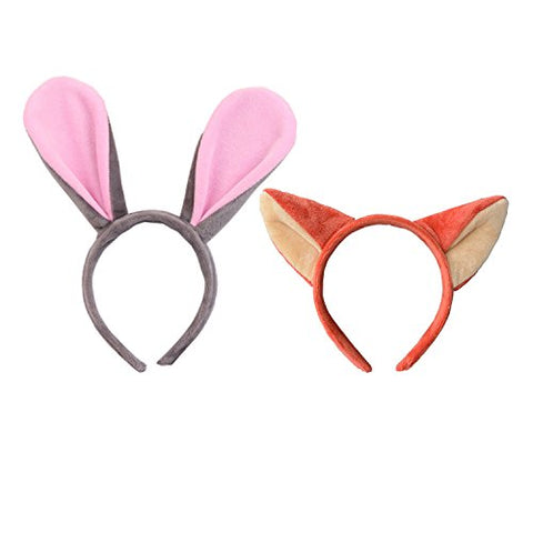 Headband Fox Ears Cute Fashion Hoop Hairband Christmas Party Birthday Headwear Cosplay Costume For Girls Boys Toddlers Kids Adults(Red Fox And Gray Rabbit)