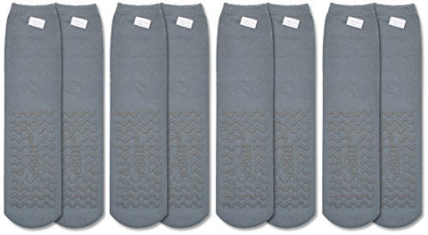 Secure (4 Pairs) Non Skid Socks With All Around Grip Tread - Hospital Style For Elderly Fall Injury Prevention  (Gray)