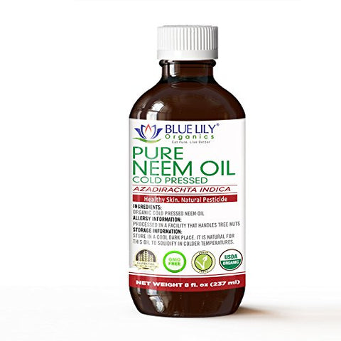 Blue Lily Organics Neem Oil 8 Fl Oz | Usda Certified Organic | Cold Pressed, Unrefined, 100% Pure | Excellent For Skin Care, Hair Oil, Indoor Plants, Succulent Plants | Ideal For Making Natural Bug S
