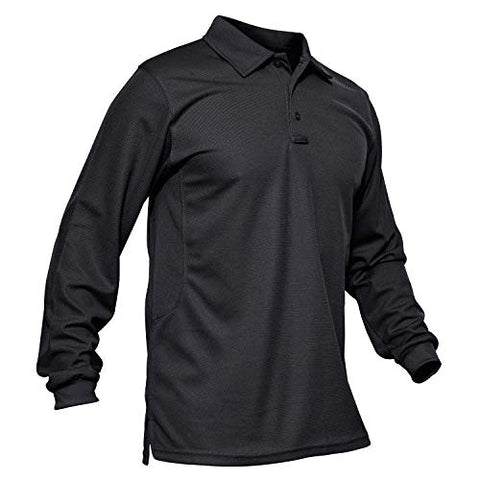 Magcomsen Golf Polo Shirts For Men Long-Sleeve Jersey Polo Shirt Military Polo Shirt Men Black