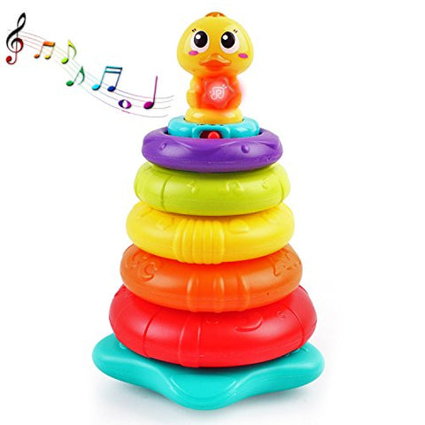 Feature-Rich Stacking Rainbow Duck With Unique Sound &Amp; Light Effects | Best Educational Stacking Rings For Kids | Teach Colors, Shapes, Numbers, And The Alphabet | Great Gift Idea For Boys &Amp; Girls