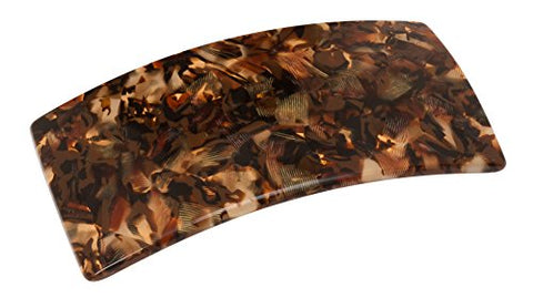 France Luxe Wide Rectangle Barrette - Pavlova Brown