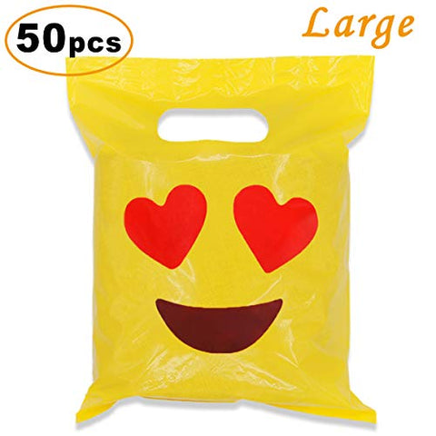 Cevinee 50Pc Glossy Merchandise Bags, Handy Retail Shopping Bags, Cute Party Favor Bags - Emoji In Love - No Gusset - Die Cut Handle - 9  X 12  - 2.0 Mil, Yellow