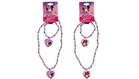 Minnie Bowtique Necklace And Bracelet Set X 2 Set (1 Pink 1 Purple Set)