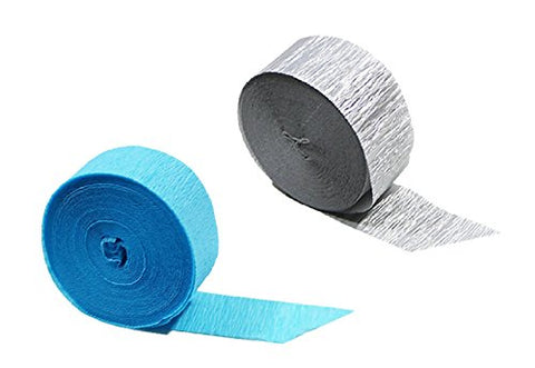 Turquoise Silver Metallic Crepe Paper Streamers, 290 Feet Total, Made In Usa