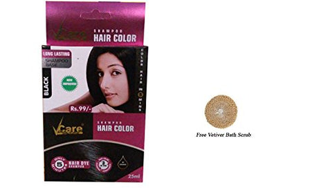 Vcare Shampoo Hair Color Black - 25Ml + Free Vetiver Bath Scrub