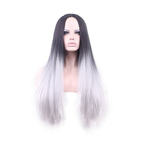 Wigood 26  Cosplay Wig Ombre Grey Long Straight Wigs With Free Wig Cap For Women