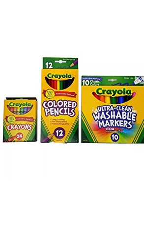Crayola Coloring 3 Piece Bundle -Crayons, Colored Pencils,Washable Markers