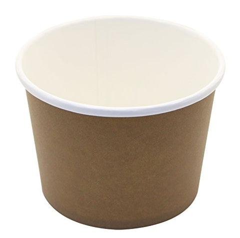 25 Count Disposable Hot And Cold Food Storage Paper Containers, Durable Ice Cream Cups For Frozen Desserts, Hot Soups, Or Any Food You Desire (16 Ounce, Brown)