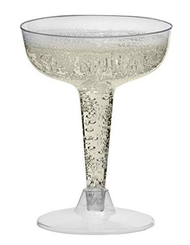 Toasted Drinkware Premium Hard Plastic Clear Two Piece 4 Oz Champagne Glasses, 80 Count