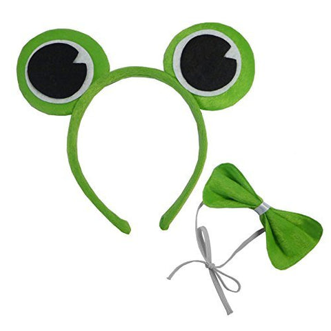 Kermit Green Frog Prince Head Band Ears Bow Tie Toad Fancy Dress Set Adult Child