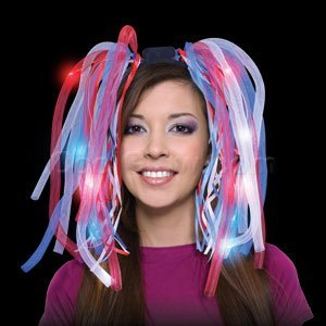 Fun Central O553 Led Light Up Party Dreads - Red, White, Blue