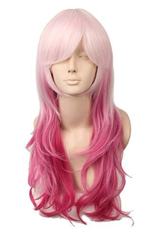 Topcosplay Women'S Wig Long Curly Cosplay Halloween Wigs Pink Red Ombre Gradient 20 Inch