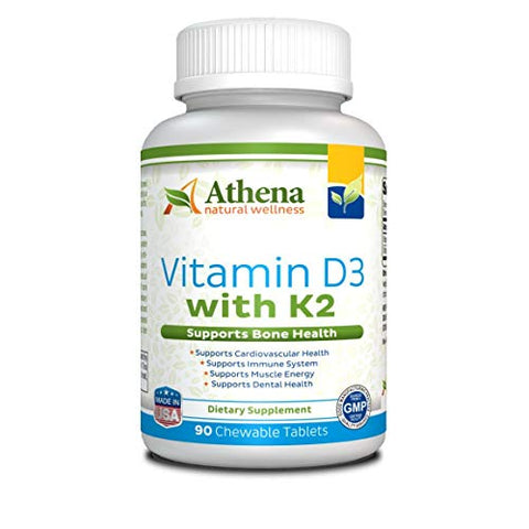 Athena - Vitamin D3 2000Iu With K2 (Mk7) - 90 Chewable Tablets - Supports Immune System - Muscle Energy - Strong Bones - Healthy Dental - Non Gmo