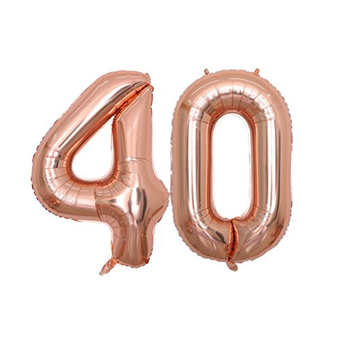 Balonar 40 Inch Jum 40Th Rose Gold Foil Balloons For Birthday Party Supplies,Anniversary Events Decorations And Graduation Decorations (Rose40)