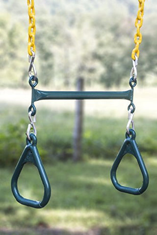 Abeaco Heavy Duty Playground Trapeze Bar With Rings Extra Long 38 Inch Chain Swing Set (Trapeze Bar)