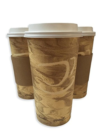 24Oz Hot Paper Cups With Lids And Sleeves