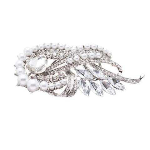 Accessoriesforever Women Bridal Wedding Jewelry Crystal Rhinestone Pearl Chic Hair Decorative Comb Pin
