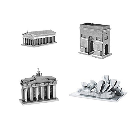 Set Of 4 Metal Earth 3D Laser Cut Building Models: Parthenon - Arc De Triomphe - Brandenburg Gate - Sydney Opera House