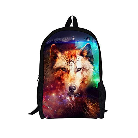 Hugs Idea Multi Color Kid Backpack 3D Animal Wolf Book Bag For Travel
