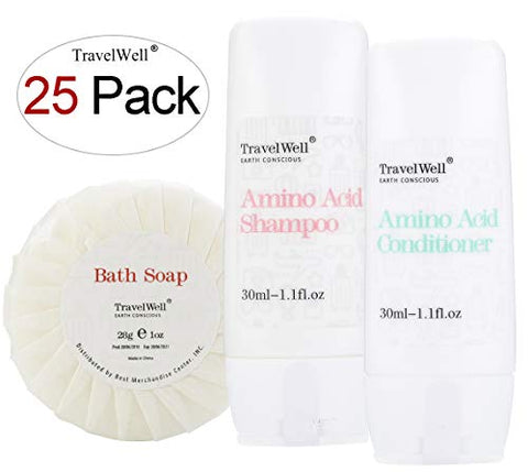 Travelwell Individually Wrapped 30Ml Shampoo 25 Bottles + Conditioner, 25 Bottles + Round Tissue Pleated 28G Cleaning Travel Soap In Bulk, 25 Bars