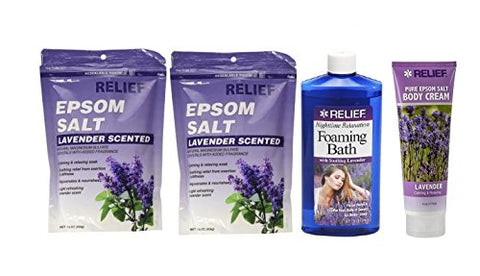 Relief Epsom Salt - Lavender Scented, Natural Magnesium Sulfate Calming &Amp; Relaxing Crystals (2 Sets) + Nighttime Relaxation Foaming Bath W/Soothing Lavender + Nighttime Relaxation Body Cream