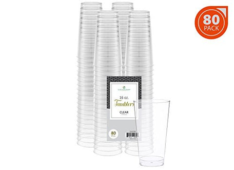 Elite Selection 16 Oz. Disposable Hard Plastic Party Restaurant Cups/Tumbles