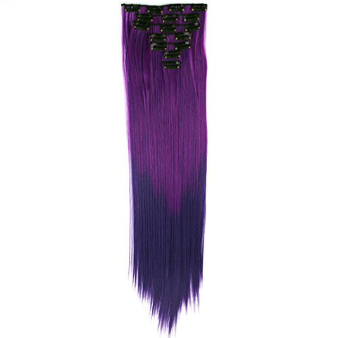 Miss U Hair 24 /60Cm 130G 7Pcs/Set Women Long Straight Synthetic Hair Full Head Clip In Hair Extensions Pieces (Ombre Purple)