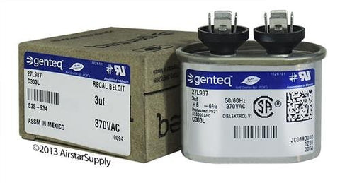 Packard Poc3 - 3 Uf Mfd X 370 Vac Genteq Replacement Capacitor Oval # C303L / 27L987