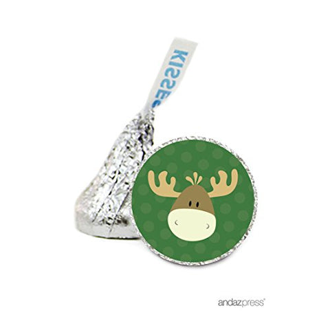 Andaz Press Chocolate Drop Labels Stickers, Birthday, Moose, 216-Pack, For Woodland Hershey'S Kisses Party Favors, Gifts, Decorations
