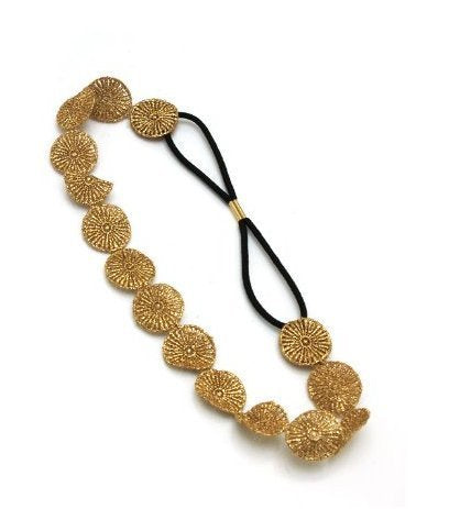Jovana Gold Glitter Circle Elastic Headband Hairband Hair Accessary