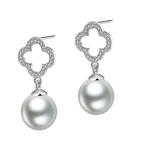 Sterling S925 Silver Clover Pearl Bling Stud Earrings