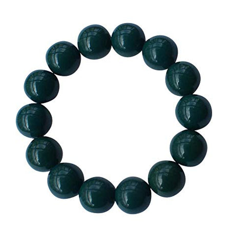 Eleecolorful Power Health Tourmaline Black/Green Bigger Beads Stretch Bracelet Wristband (Green)