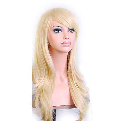 Wigood 28 Inch Pale Gold Long Curly Hair With Air Bangs Cosplay Wig With Free Wig Cap For Women