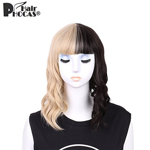 Hairphocas Half Blonde And Half Black Wig 2-Tone Dyed Short Curly Wavy Synthetic Hair Cosplay Costume Party Wig Bob Wig