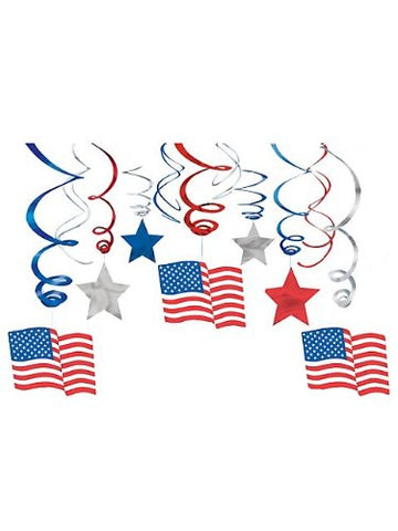 30Pc Patriotic Hanging Swirl Decorations