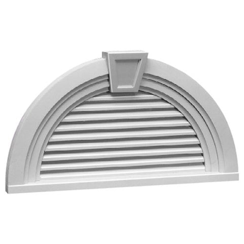 Fypon Hrlv36X18Mtk 36W X 18H Half Round Decorative Louver With Decorative Trim And Keystone