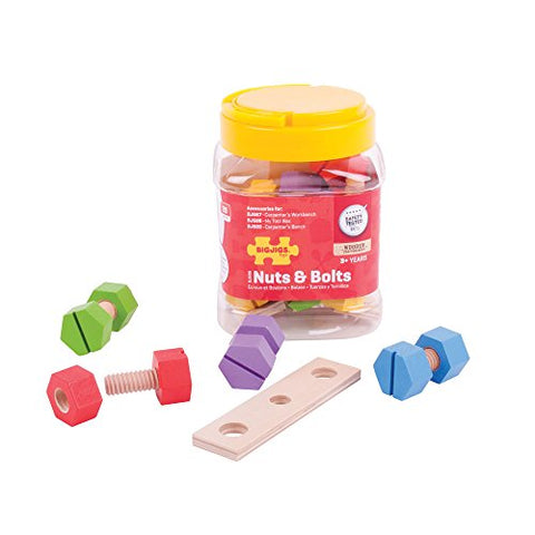 Bigjigs Toys Pretend Play Jar Of Wooden Nuts And Bolts