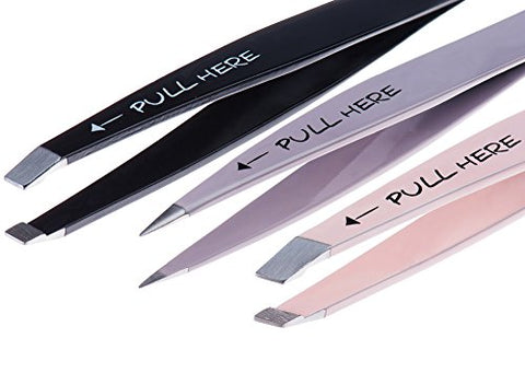 Precision Tweezers Set 3 Piece: Pointed, Slanted, And Flat With Silicone Tip Covers, Case, And Compact Mirror For Superb Grip And Skin Pinch-Free Use By Alln'Box