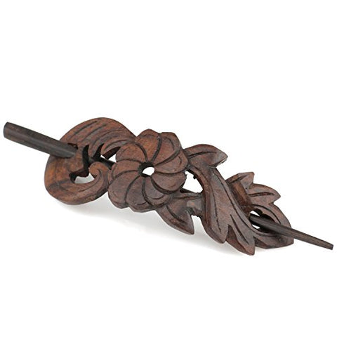 Evolatree Natural Hair Barrettes For Women And Men - Handmade Wood Barrette Hair Pin - Tidal Flow Blossom - 4