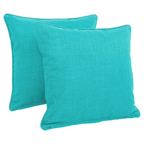 Blazing Needles Double-Corded Solid Outdoor Spun Polyester Square Throw Pillows With Inserts Set, Set Of 2, 18 , Aqua Blue