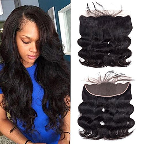 Wigirl Hair 13X4  Ear To Ear Lace Frontal Closure Brazilian Virgin Human Hair Weave Bundles Free Part 12 Inch