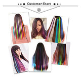 Highlight Hair Extensions 20 Inches Rainbow Hair Extensions Multiple Colors Hairpieces For Party Highlights Clips For Hair 7Pcs Set