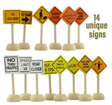 Toy Wooden Road Construction Traffic Sign Set; Street Signs Compatible W/ Matchbox, Hot Wheels, Other Diecast Vehicles &Amp; Wood Cars &Amp; Toys