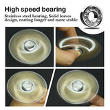 Atesson Fidget Spinner Toy 4-10 Min Spins Ultra Durable Stainless Steel Bearing High Speed Precision Metal Material Hand Spinner Focus Anxiety Stress Relief Boredom Killing Time Toys - Silver